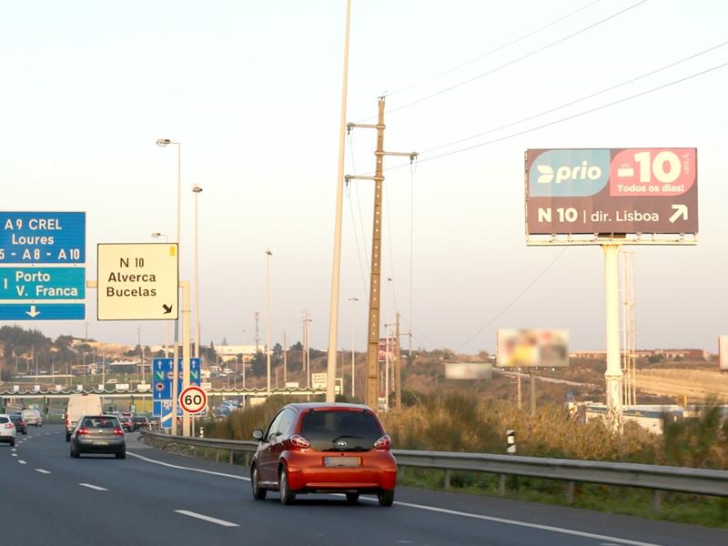 MONO001 – A1 Lisboa – Vialonga, junto às Portagens de Alverca – Sul/Norte – km 13